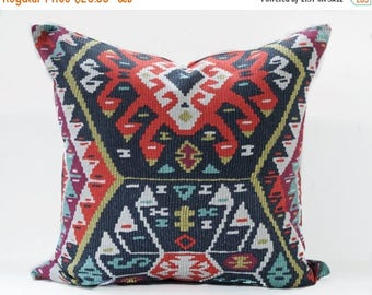 Sale Kilim pillow cover - Gray and Red Pillow - Charcoal pillow - Red kilim pillow - Tribal pillow - Kilim print pillow - Boho Pillow -