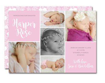 Fun affordable invitations paper goods by paperieoffpark birthbaby 5x7 announcement with photo collage diva debut boho floral printable negle Images