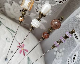 Victorian Antique Inspired Hat Pins Vintage Inspired Beads, Brass Findings, Beautiful Set. 4 Hatpin Lot! STURDY! Display Or Use.
