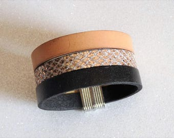 Black leather Cuff Bracelet, beige, Brown glitter magnetic clasp