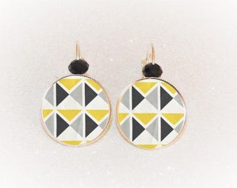 Earrings sleepers silver cabochon geometric Art deco yellow/black triangles