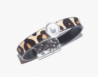 Leopard leather bracelet magnetic clasp brown/black and rhinestones