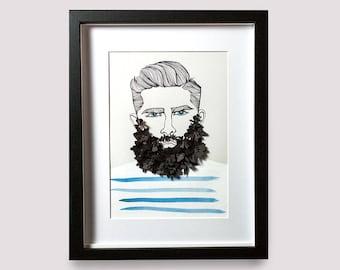Mister Hipster   Beard Man   Wall Art   Art Print   Poster   Papercut Art