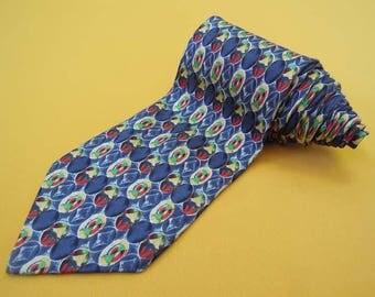 Courreges Homme Tie Pure Silk Geometric Pattern Blue Vintage Designer Dress Necktie Made In Italy