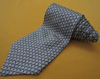 Lancel Tie Pure Silk Golf Repeat Pattern Ivory Blue Vintage Designer Dress Necktie Made In France
