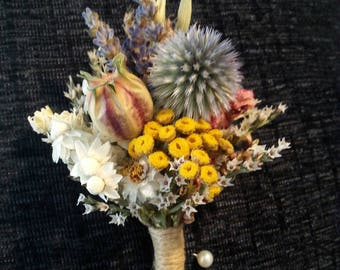 Boutonniere Dried Flower Bout Burgundy striped Nigella pod, blue echinops, yellow tansy, pink larkspur. Rustic dried flower Fall boutonniere