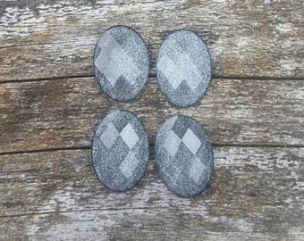 10x14mm Black Frosted Cabochons