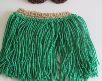 SALE SALE Baby hula grass skirt photo prop~green/tan-Newborn up to 4T~crochet luau birthday party costume~Free Shipping Ready to ship in 3 d