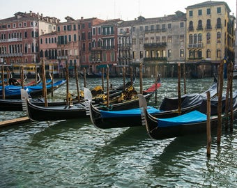 Metal Print of Gondolas on the Grand Canal in Venice Italy.