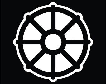Bronze dharma wheel of life samsara buddhist amulet pendant for Buddhist wheel of life template