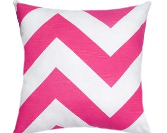 SALE Chevron Throw Pillow Cover, Hot Pink and White Pillow, Zippy Candy Pink Pillow, Bright Pink Pillow, Large Chevron Pillow, Pink Accent P