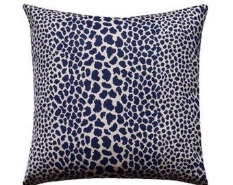 SALE Leopard Pillow Cover, Cheetah Pillow Cover, Leopard Print Pillow, Animal Print Pillow, Blue Leopard Pillow, Animal Print Decor, Indigo