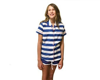 Blue Striped Cotton Ladies Pajama Set