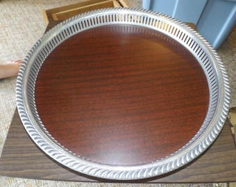 Vintage, Silver Tray, Serving Tray, Waiter Tray, Butlers Tray, Large Round Tray, French, Rustic, Mid Century Modern, Art Deco, Gift for Her