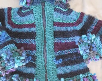hand knit coat, lisa, blue, child's twelve to eighteen months, knitted