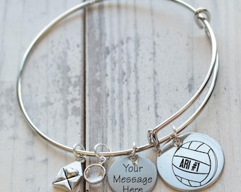 Volleyball Wire Adjustable Bangle Bracelet