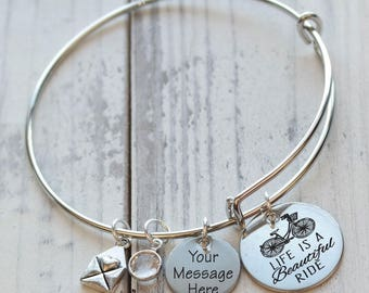 Life is a Beautiful Ride Bicycle Personalized Adjustable Wire Bangle Bracelet