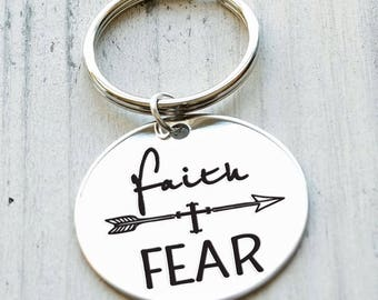 Faith over Fear Personalized Engraved Key Chain Gift