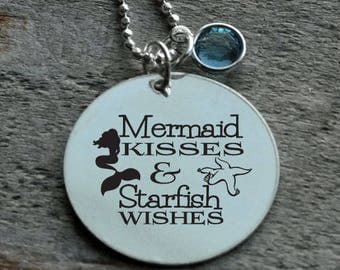 Mermaid Kisses and Starfish Wishes Personalized Engraved Necklace