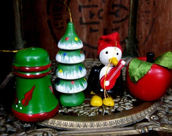 Wood Decorations, Wooden Decorations, Vintage Decorations, Christmas Decorations, Vintage Christmas, Painted Decorations, Colourful, 1970s