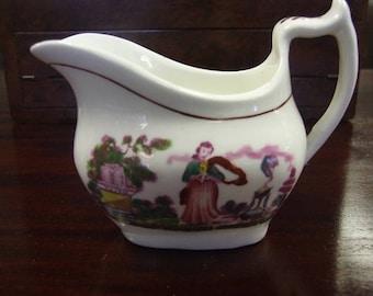 Early Victorian Pink Lustre 'Faith' Cream Jug Circa 1840