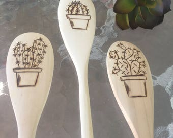 Handmade cacti wooden spoon set