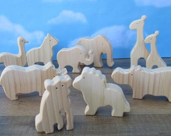 Wooden animals - Create a set of 20 wooden animals - Wooden toys - Rustic Animal set - Wood toys - Gift for child