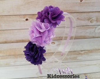 Shabby Chic Headband - Purple Flower Headband - Boutique Headband - Girls Headbands - Spring Headband - Hair Accessories
