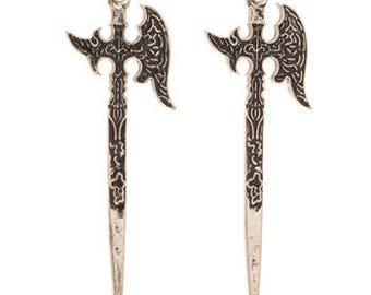 Fairy Tale Silver Battle Axe Metal Pendant