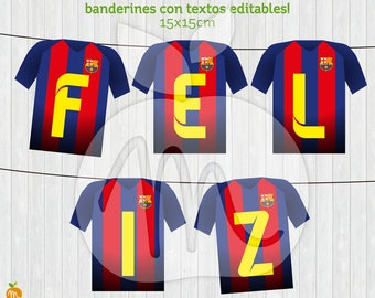 Printable Banners with Editable Texts Barcelona Soccer