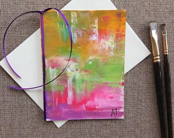 Hand made greeting card Hand painted card Hand made card Hand painted greeting card Art card Art Original Oil painting on canvas Pink art