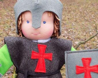 Waldorf doll boy in a knights costume, rag doll, textile doll, fabric doll, custom doll, cloth doll, doll knight