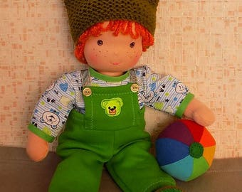 14 inch natural soft waldorf doll boy, ginger fabric doll boy, rag doll boy, textile doll, fabric doll boy, cloth doll, personalized doll