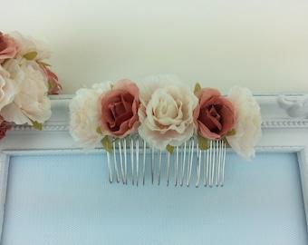 Dusky pink flower hair comb, flower hair piece, wedding hair accessories, flower headpiece, bridesmaid hair comb, flower girl