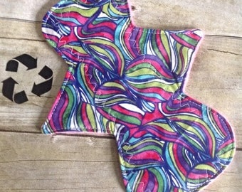 Reusable Cloth Pad- Light/Liner 8 inch- Bright Swirl