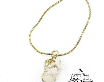 Genuine natural druzy quartz crystal necklace, gold plated chain necklace,  boho jewelry