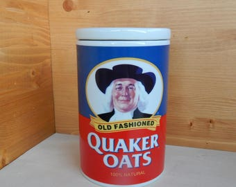 Quaker Oats Ceramic Cookie Jar, 120th Anniversary Cookie Jar, Famous Old Fashioned Oatmeal Cookie Recipe, Vintage Cookie Jar and Recipe, NOS