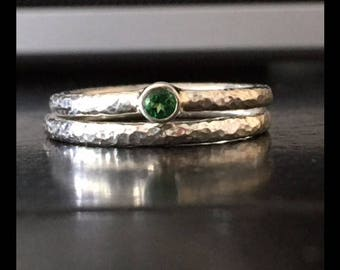 handmade: engagement ring set 1 x pure 925 + 1 x stone (green Topaz or color of your choice)