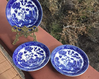 Blue Willow Saucers, Set of Three Saucers, Made In Occupied Japan