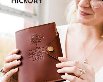 Huge SALE 50% OFF... Refillable Leather Snap Journal... Customize Notebook Cover...Small only 24 dollars! Handmade in Portland, OR
