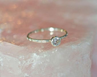 Diamond CZ ring, stacking ring, promise ring for her, dainty ring, thin ring, textured ring, sterling silver, skinny ring,