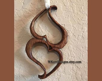 Two Hearts, Depending on Each Other, Heart Sculpture, Heart Wall Decor