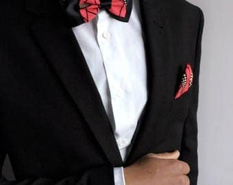 Bow tie for men red / black