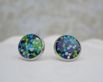 stud earrings - kids earrings - kids jewelry - polka dot earrings - earring studs - ear rings - fun earrings - gifts for girls - sprinkles