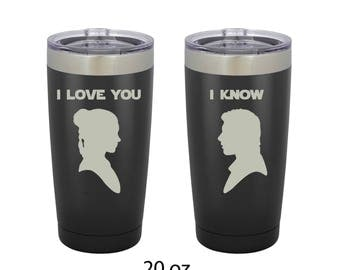 "Star Wars Princess Leia and Han Solo Quote ""I Love You/I Know"" Tumbler Set of 2"