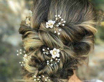 White Gold Hair Pin, Pearl Hair Pin, Gold flower Hair Accessory, Bridal Hair Accessory, Wedding Hair Clip
