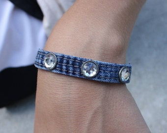 Denim and Rhinestone Cuff Bracelet