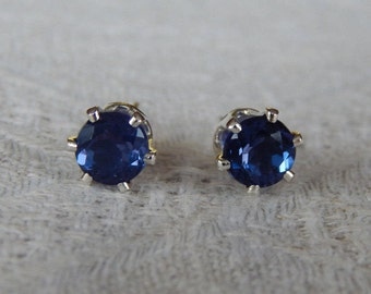 Fluorite 6mm Studs, Fluorite Stud Earrings, Fluorite Posts, Blue & Purple Earrings, Color Change Fluorite, Wedding Jewelry, Natural Fluorite