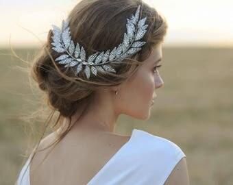 Laurel Hair Comb Grecian Hair Silver Leaf Accessory  Hair accessory