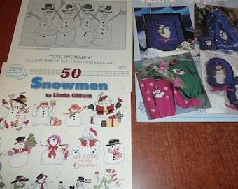 Snowmen Counted Cross Stitch Pattern Leaflets